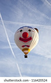 BARNEVELD, THE NETHERLANDS - 17 AUGUST 2012: Colorful clown balloon taking off at international balloon festival Ballonfiesta in Barneveld on August 17 2012 in Barneveld, The Netherlands