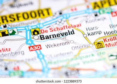 Barneveld. Netherlands on a map