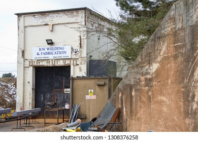 BARNHAM, SUFFOLK, UK - MARCH 26, 2013: The former RAF Barnham Nuclear Weapon Storage Site, built in the late 1950's to store and maintain nuclear bombs, with fissile cores stored separately in hutches