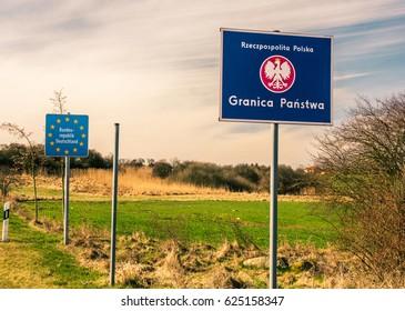 Barnislaw, Poland - April 8, 2017: Polish-German border.