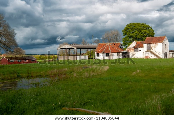 Barns and farmhouse in the countryside