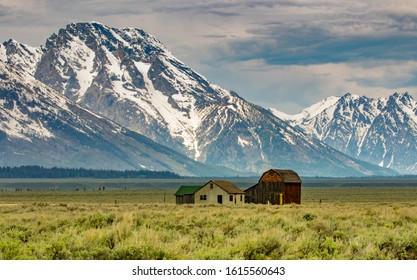 Barns in Teton valley with Snowy teton peaks in background at Moulton barn, Grand Teton national park, usa