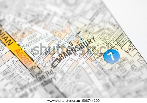 Barnsbury. London, UK map.