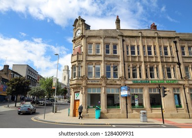 BARNSLEY, UK - JULY 10, 2016: People visit town centre of Barnsley, UK. Barnsley is a major town of South Yorkshire with population of 91,297.