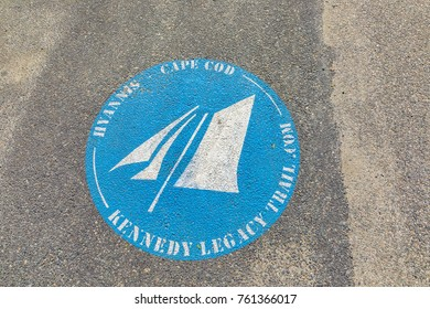 BARNSTABLE, USA - SEP 24, 2017:  sign for Hyannis Kennedy legacy trail in Barnstable, USA.  In 1961 kennedy signed the Cap Cod national seashore act.