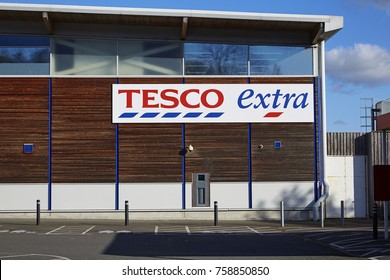 BARNSTAPLE UK - 9TH NOVEMBER 2017; Facade of Tesco Extra in Barnstaple uk
