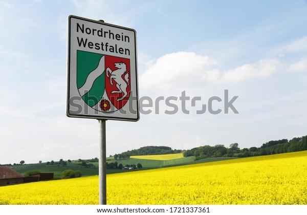 Barntrup, North Rhine-Westphalia / Germany - May 13, 2018: Sign of the German state of North Rheine-Westphalia on the border between Lower Saxony and NRW near Barntrup, Germany