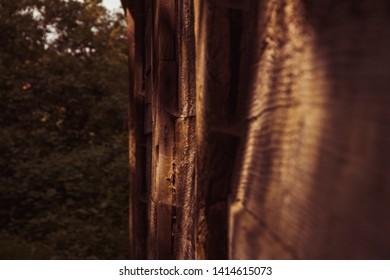 Barnyard wall partially in focus