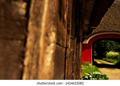 Barnyard and wooden barnyard wall