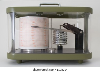 Barograph in green metal and glass case.