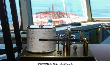 A barograph on the bridge of an oil tanker