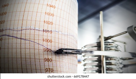 Barograph showing drop of pressure, concept of bankruptcy, business failure or falling down trend but also worsening weather