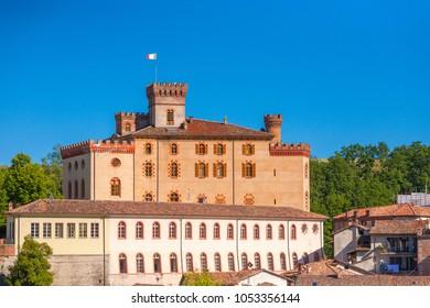 The Barolo Castle or Falletti Castle in Barolo village,  Piedmont region, north Italy
