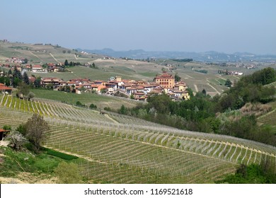 Barolo, Cuneo, Italy - 04/10/2011: Distant view of the municipality of Barolo and surrounding vineyards in the Piemonte wine region of northern Italy.