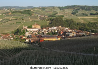 Barolo, Cuneo, Italy - 04/10/2011: Distant view of the town of Barolo in the Piemonte wine region of northern Italy.