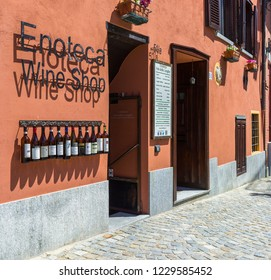 Barolo, Italy - May 24, 2018: Typical wine shop in the old town. Barolo is the capital of Langhe (Unesco World Heritage Site), where Barolo wine is produced.
