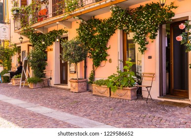 Barolo, Italy - May 24, 2018: Typical restaurant with climbing plants and a woman using a mobile phone. Barolo is the capital of Langhe (Unesco World Heritage Site), where Barolo wine is produced.
