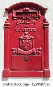 Barolo, Italy - May 24, 2018: Old mailbox in the old town. Barolo is the capital of Langhe (Unesco World Heritage Site), where Barolo wine is produced.