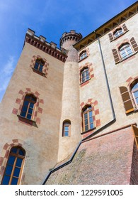 Barolo, Italy - May 24, 2018: Castle of Barolo, home of the Regional Wine Shop and Wine Museum. Barolo is the capital of Langhe (Unesco World Heritage Site), where Barolo wine is produced.