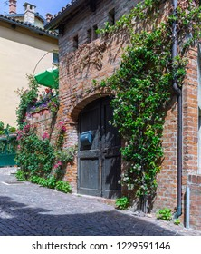 Barolo, Italy - May 24, 2018: Street view in the old town. with old wooden door and climbing plants. Barolo is the capital of Langhe (Unesco World Heritage Site), where Barolo wine is produced.