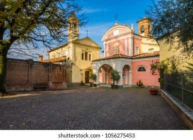 Barolo, Italy - October 21, 2006: Piazza Falletti, in front of the Castle. Barolo is the capital of Langhe (Unesco World Heritage Site), where Barolo wine is produced.
