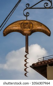 Barolo, Italy - October 21, 2006: Sign of the Corkscrew Museum. Barolo is the capital of the Langhe (Unesco World Heritage Site), where Barolo wine is produced.