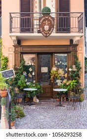 Barolo, Italy - September 20, 2008: Traditional restaurant in front of the Castle. Barolo is the capital of the Langhe (Unesco World Heritage Site), where Barolo wine is produced.