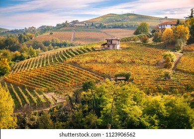 Barolo Langhe e Roero vineyards hills. Autumn landscape, Dolcetto, Barcaresco wine. Cuneo province, Piedmont, Italy.