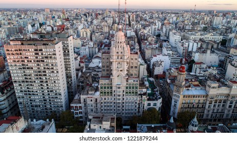 Barolo Palace, buenos aires, argentina. drone shot from dji phantom 4 proffesional. iconic building and architecture