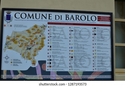 Barolo, Piedmont, Italy. July 2018. In the historical center of the information boards on the municipality. Barolo is part of the viticultural landscapes of Piedmont Langhe Roero Monferrato.