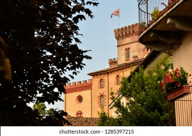 Barolo, province of Cuneo, Piedmont, Italy. July 2018. View of the castle of Barolo, home of the wine museum, is the landmark of the town: clearly visible from any point of view.