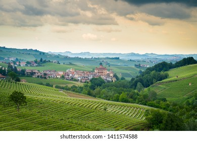 Barolo town on cloudy day, Piedmont, Italy