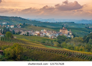 Barolo town (Piedmont, Italy)and the vineyards. Barolo is the main village of the Langhe wine region