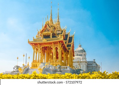 Barom Mangalanusarani Pavillian with field of flowers in the area of Ananta Samakhom Throne Hall with field of flowers in Thai Royal Dusit Palace, Bangkok, Thailand.