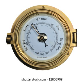Barometer showing rainy weather isolated on white background.