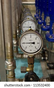 Barometers in industrial pumping and filtering process.