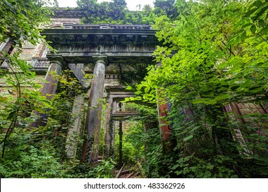 Baron hill, Angelsey, Wales, UK, September 6 2016 - Baron hill manor,  was built in 1618, the mansion was eventually lost to a fire and abandoned in the middle of a forest for it to further decay