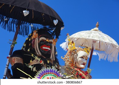 Barong Landung traditional protective spirit of Bali in human body at ceremony Melasti before Balinese New Year and silence day Nyepi. Holidays, festivals, rituals, art, culture of Indonesian people.