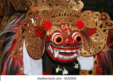 Barong mask in a Balinese traditional dance