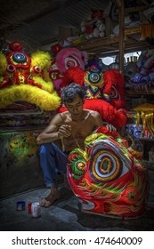 """Barongsai"" Lion Dance maker in Bogor West of Java Indonesia. Date taken 01 June 2013"