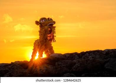 barongsai at the sunset