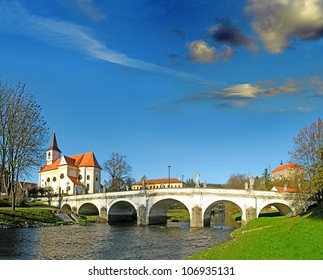 Baroque Bridge and the River Oslava, Namest nad Oslavou, Czech Republic - Shutterstock ID 106935131
