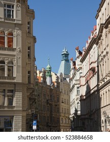 Baroque building fronts facing Stare Mesto, Old Town of  Prague, Czech Republic