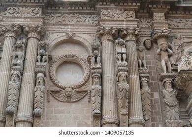 Baroque carvings on the exterior columns of the Nardo, Puglia, Italy