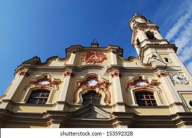 Baroque church facade on blue sky, Crema town, Lombardy, Italy