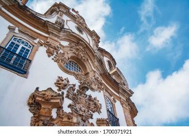 Baroque Church in Ouro Preto, Minas Gerais, Brazil. Igreja Nossa Senhora do Carmo. Low angle view from religious building. Catholic architecture from de 18 century.