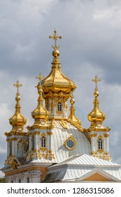 Baroque church of palace in Petergof, Russia