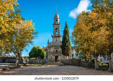 Baroque church of San Bieito (Benito) in Allariz on a clear Autumn day, Ourense, Spain.