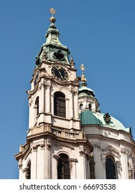 Baroque church tower in Prague