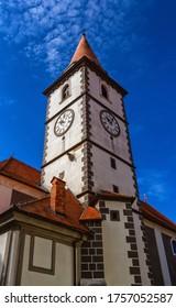 Tour de l'église baroque à Varazdin par jour, Croatie